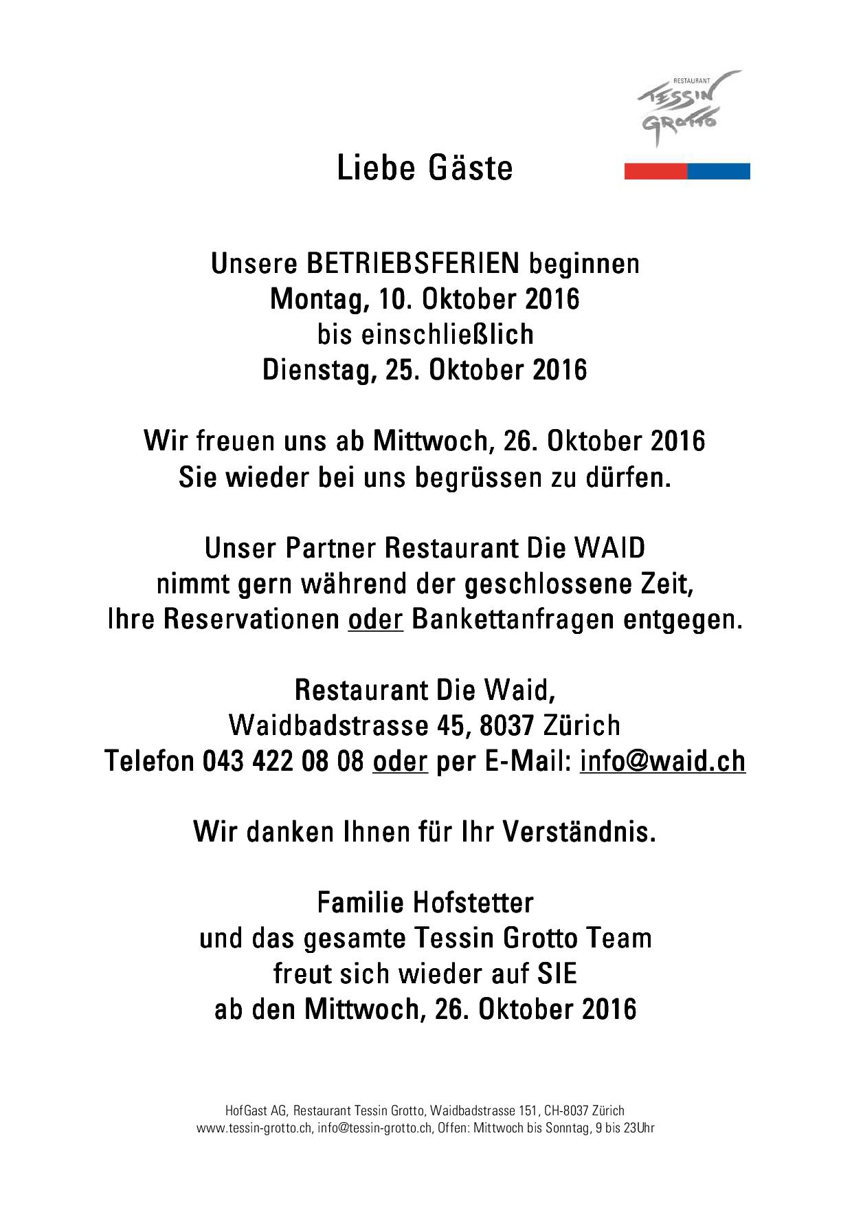 Betriebsferien Sommer 2019 Hirschenmetzg